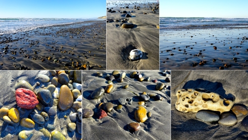 The beaches in North County don't have as much sand over the winter, and instead are covered with beautiful smooth stones of all colors and sizes.  The waves make a wonderful shhhshing sound as they pull back and roll the rocks with them.