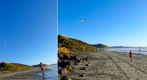 Sam takes a break from hunting to fly his kite.