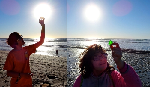 Sam found a clear stone the size of a small egg, Emma found a piece of green sea glass.